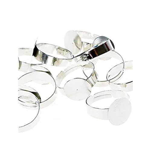 Adjustable Ring Bases for Making Fimo Jewellery, Head: 12mm - Silver-Coloured / Pack of 10