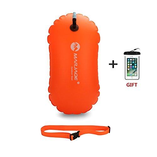 Jelkuz Swim Buoy 28L con Bolsa Seca y Funda Impermeable para teléfono móvil, bañador Hinchable de Agua Abierta Flotador de Burbujas para Nadadores, triatletas, snorkelers y natación Segura, Naranja