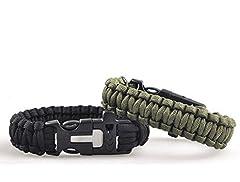 Idea Regalo - Lance Home Confezione di due bracciali di sopravvivenza in paracord, con fischietto, pietra focaia, raschietto per esterni nero e verde militare