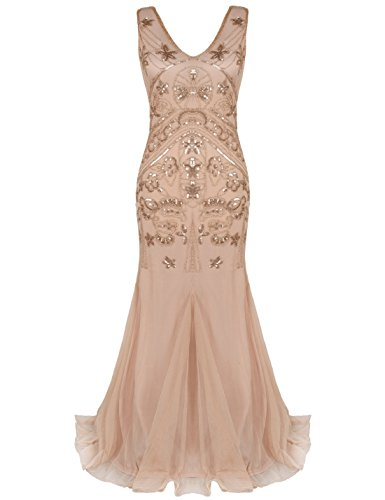 PrettyGuide Damen Paillette Abendkleider 1920er Flapper Lange Meerjungfrau Ballkleid S Roségold