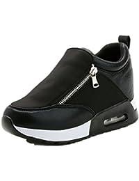 Zapatos Mujeres de Aire Libre Correr Deporte de Cuña 7 CM Caminar Zipper Cuero de Zapatilla Gimnasio Ejercicio Sneakers Negro Gris Rojo 35-40