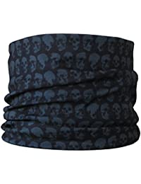 Multifunctional Headwear Dark Green Skulls on Black