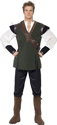 Smiffys, Herren Robin Hood Kostüm, Hose, Hemd, Gürtel mit Köcher und Überstiefel, Größe: L, 29076 (Kostüme Pfeil)