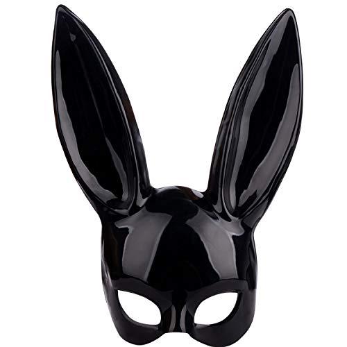 JYCRA Hasenmaske, Schwarze Maskenmaske, Hasen-Augenmaske mit Ohren, Hasen-Maske für Halloween, Party, Cosplay, Verkleidung, Requisiten Ball, Ostern, Karneval (Zurückhaltung Halloween Maske)