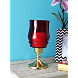 Sammsara Decorative Victoria Red Glass & Gold Hurricane Candle Holder.Pillar Candle Holders, Parties and Home Décor.10 Inches Height
