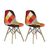 MIFI Sedia Patchwork Tessuto Retro 2 x Multicolor Eiffel Sedia da Pranzo Sedia da Ufficio Sedia Vintage con Gamba in Legno per Soggiorno Camera da Letto Sala da Pranzo Set Mobili per Ufficio (Rosso)