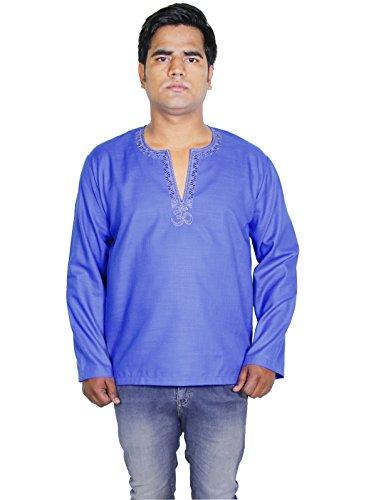 Kurta-robe-chemise-en-coton--manches-longues-mens-motif-om-polo