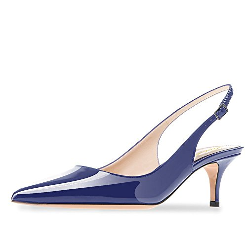 Lutalica Frauen Kitten Heel Spitze Patent Slingback Kleid Pumps Schuhe für Party Patent Blau Größe 39 EU Leder Ankle Strap Pumps