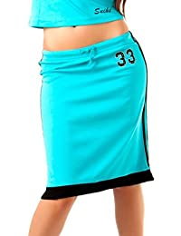 24brands Damen Sport Rock College Look Sporty Sommerrock midi knielang gerade in 6 Farben Gr. S/M - 1173