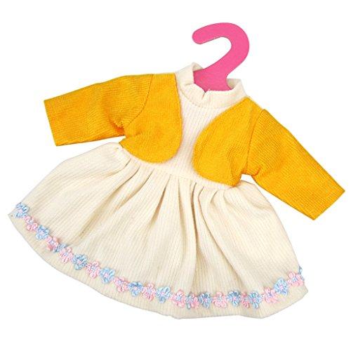 Gazechimp Set Pyjama Robe Vêtements Tenue Décor Pour Poupées 14-16 inch Dolls - Robe Jaune