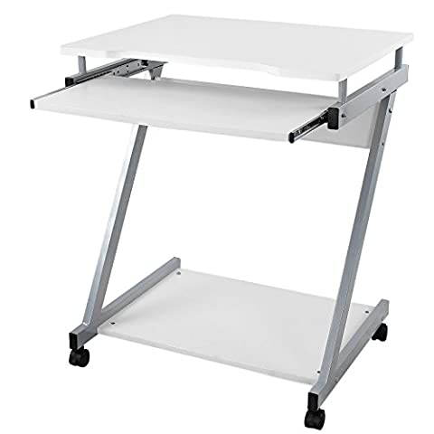 Songmics Computer Desk Z-Shaped PC Table Movable Portable Trolley Study Workstation with Sliding Keyboard 4 Wheels 60 x 48 x 73 cm White LCD811W