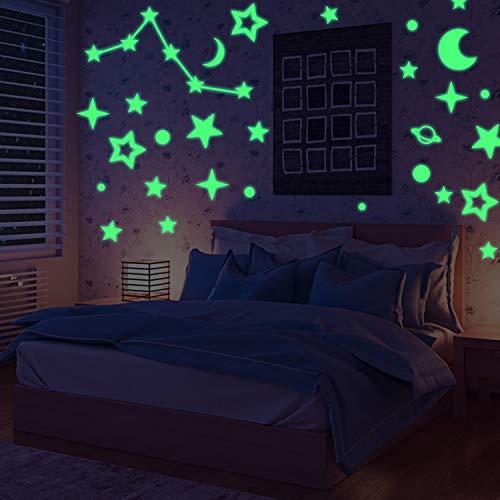 (YHmall Wandtattoo und wandsticker, 104 x leuchtpunkt, 70 x leuchtsterne, 2 x leuchthalbmond und 1 x Gestirn für Sternenhimmel, Selbstklebend und Fluoreszierend, im Dunkeln Leuchtend MEHRWEG)