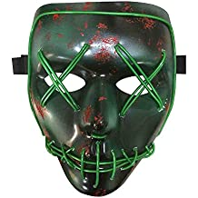 CGBOOM Halloween LED Máscaras, Esqueleto Mascaras, Creative Light Up Mask Máscara De Cosplay para