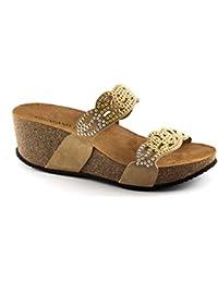 Grünland LELI CB1465 sandalias de cuña de color beige mujer de brillo