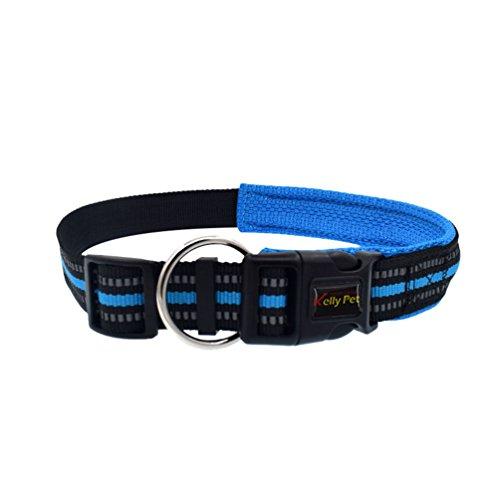 Yuncai Einstellbar Reflektierend Haustier Hund Halsband Dauerhaft Hunde Leine Blau1 S