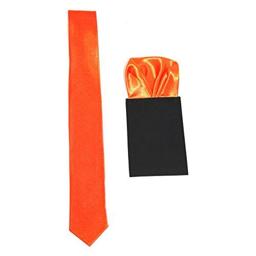 """Homme Fin 2"""" Cravate Satin avec assorti pré plié poche carré Orange"""