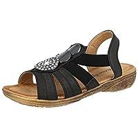 Antonia Dolfi Ladies Faux Leather Open Toe Sling Back Strappy T-Bar Medallion Flat Summer Sandals Size 3-9 (UK 7/ EU 40, Black)