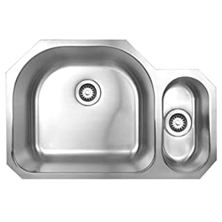 Alfi Trade WHNDBU3121 31.50 in. Noahs Collection double bowl undermount disposal sink- Brushed Stainless Steel