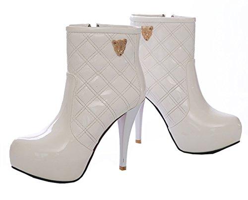 Elegantes Tornozelo Planalto Zip 12cm Ankle Salto De Salto Pintam Alto Ye Agulha Modernas Branco Mulheres Botas Com Boots 8q0nI