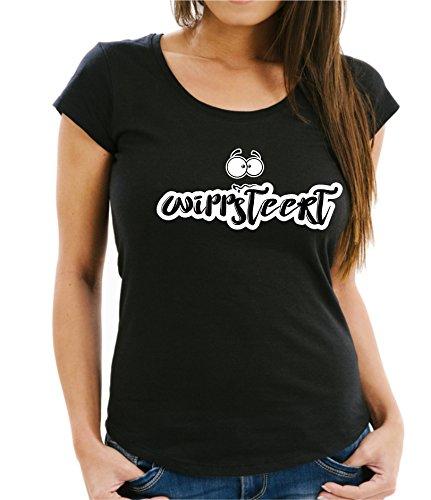 Siviwonder WIPPSTEERT Ostfriese quirlige Person - Mundart Plattdeutsch Platt - Women Girlie T-Shirt Black L -38