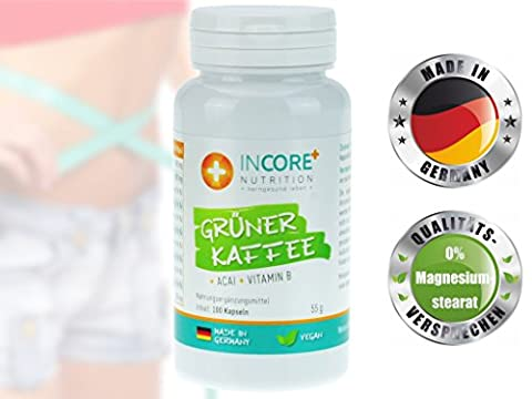 Schlank werden ohne Hunger! | Abnehmen mit 24.000 mg Grüner Kaffee (Tagesdosis), der Super-Beere Acai und Vitamin B | Optimale Rezeptur für eine effektive Gewichtsreduktion | 100 vegane Kapseln MADE IN
