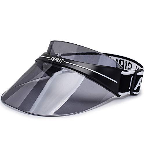 LYDIAMOON Sun Transparent Visor Hat (UPF 50+), Sommerlicher Sonnenhut Mit Verstellbarem Stirnband,Black