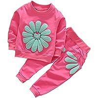 Borlai Bebé Niñas Camisa de Manga Larga Pantalones Trajes Casuales Conjunto Chándales Estampados de Flores