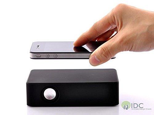 IDC© - i-VIBE Vibration Lautsprecher. Keine Kabel oder Bluetooth/Wifi erforderlich!! Setzen Sie einfach Ihr Handy/Ipod/MP3 auf dem Lautsprecher verstärken die Ton 10 x lauter. Keine Kabel, kein Syncing - Musik spielen innerhalb von Sekunden haben. (Schwarz)