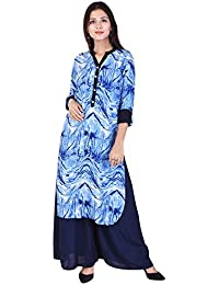 WHIY Blue Colour Printed Cotton Collar Neck Kurti With Blue Colour Palazzo