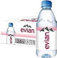 عبوات مياه شرب معدنية مفلترة وطبيعية المنشأ من ايفيان، مجموعة من 24 عبوة زجاجية بسعة 330 مل مصنوعة من الطبيعة