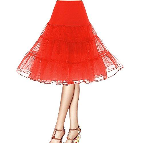 Honeystore Damen's 50s Rock'n'Roll Ballet Petticoat Abschlussball Party Halloween Kostüme Tutu Rock Rot Large (Rock Und Roll Kostüm Ideen Für Frauen)