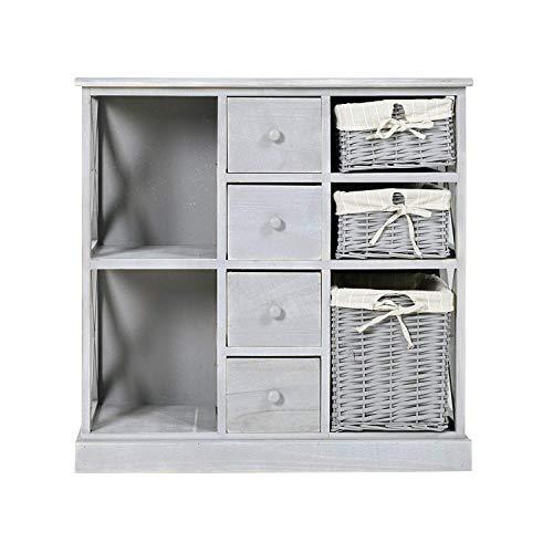 Rebecca Mobili Alacena para cocina, mueble auxiliar para baño de madera y mimbre, 4 cajones 3 ccestas, gris, shabby country- Medidas: 73,5 x 73 x 32 cm ( AxANxF) - Art. RE4016