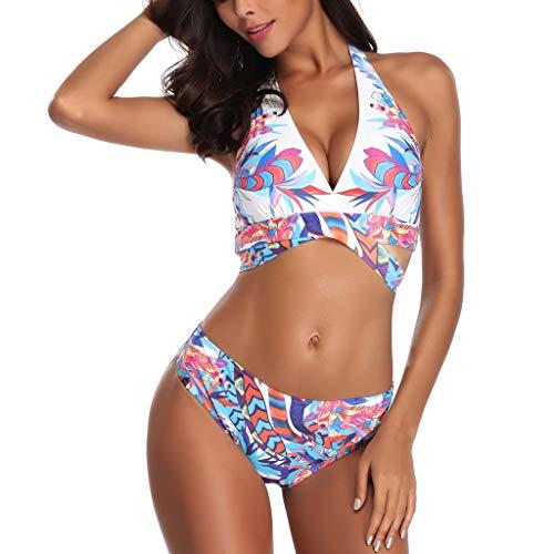 iYmitz Damen Badeanzug Sommer Mode Siamese Bikini Set Push-Up Drucken Streifen Swimwear Blumen Beachwear Plus Größe(Weiß,EU-38/CN-L)
