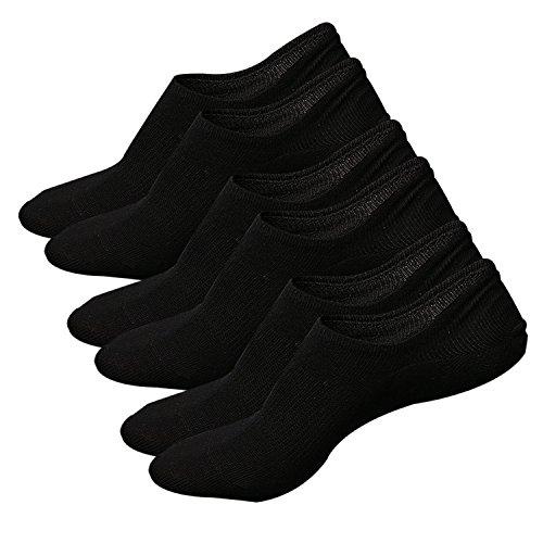 Ueither Damen Unsichtbare Sneaker Socken Baumwoll Kurzsocken Sport Socken für Loafers Boots Schuhe mit Rutschfest Silikon (Schuhgröße:36-43, Schwarz (3 Paar))