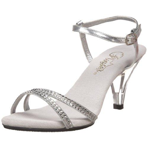 Fabulicious BELLE-316, Damen Knöchelriemchen Sandalen mit Keilabsatz, Silber (Slv Metallic Pu/Clr), 37 EU (7 M US) (Damen Fashion-sandalen Pu)