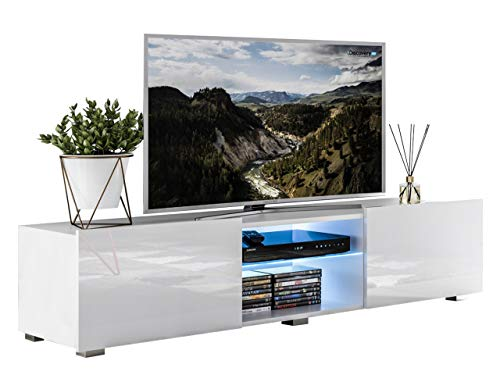 Mirjan24  TV-Lowboard Focus II, TV-Kommode, LED-Beleuchtung im Set, HiFi-Tische, TV-Schrank, Wohnzimmer Kollektion (Weiß/Weiß Hochglanz)