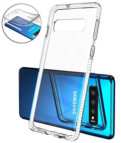 Mobiusphy kompatibel Samsung Galaxy S10 Hülle, Handyhülle für Samsung Galaxy S10 Schutzhülle Schale Dünn Cover Slim Transparent Klar TPU Silikon Case Durchsichtig Stoßfest Anti-Fingerprint Weiß -