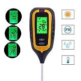Feuchtigkeitsmessgerät Boden Feuchtigkeitsmesser 4 in 1 Bodentester Batteriebetrieben, Pflanzen Hygrometer, Temperatur, Licht und PH Säuretester für Garten Bauernhof