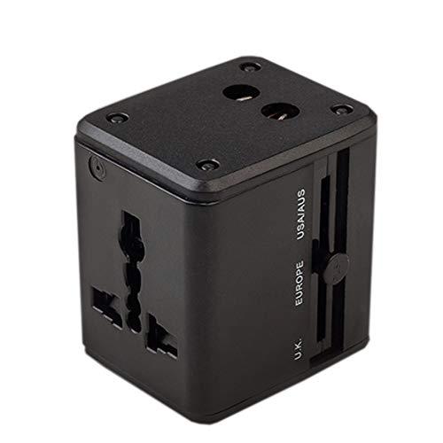 GYLFDC Universal-Reiseadapter, Dual-USB-Umwandlungsstecker, Multifunktions-Reisestecker, Universal-Smart-Plug-Konverter-Steckdose für USA AUS UK Europe,Black