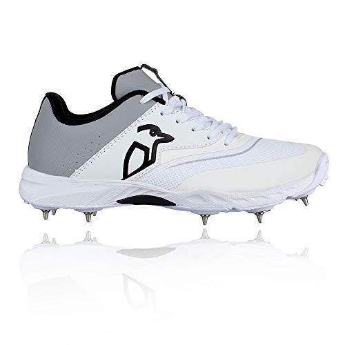 KOOKABURRA 2024 KC 3.0 Spike Cricket Shoe White/Grey Kricket-Schuh, weiß/grau, 36