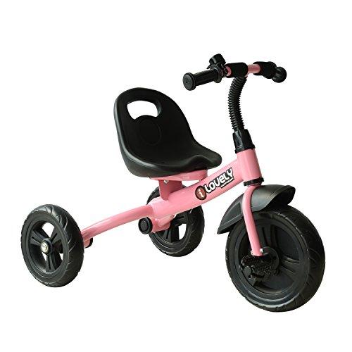 HOMCOM Triciclo para Niños más de 18 Meses con Timbre Guardabarros Rueda de Seguridad 74x49x55cm
