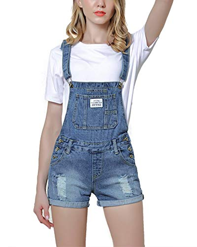 BOLAWOO-77 Mujer Vaqueros Peto Agujeros Rasgado Jeans Straps Ajustable Jeans Mode De Marca Corta Elegantes Vintage Moda Elásticos Skinny Denim Monos Overall (Color : Blau, Size : S)