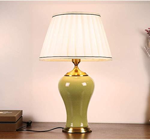 Z-D Tischlampe Schreibtischlampe Tischlampe aus Keramik Moderne Minimalistische Schlafzimmer Studie Nachttischlampe (Farbe: Grün), Gelb (Gelb Moderne Keramik-tischlampe)