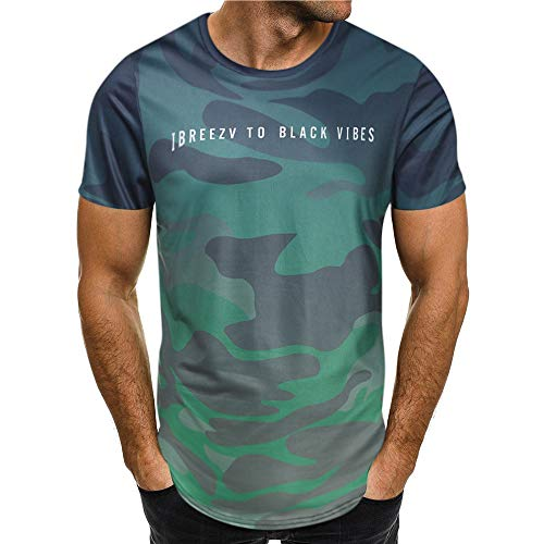 REALIKE Herren Kurzarmshirt Oberteil Casual Basic O-Ausschnitt Tarnmuster Buchstabenmuster T-Shirt Mode Classics Slim Fit Tops Größe S-3XL Sport Bequem Atmungsaktiv Leicht Viele Farben