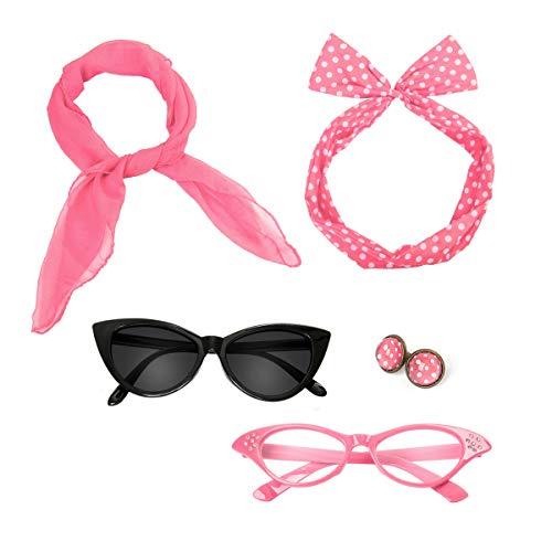 Nofonda 50er 60er Polka Dot Kostüm Zubehör Set Halstuch Katze Brille Bandana Haarband und Ohrringe Retro-Look für Mädchen Damen Frauen (pink)