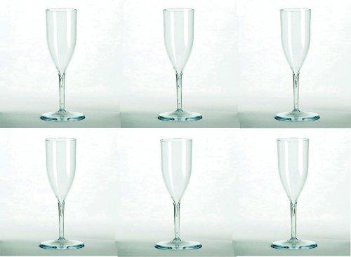 Rigide et réutilisable Lot de 6 flûtes à Champagne en plastique-Passe au lave-vaisselle-verres