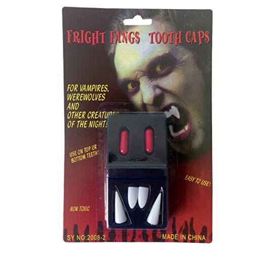 Gfone 2 Paar Vampirzähne Zahnersatz gefälschte Dracula Zähne Zahnprothesen Halloween Kostüm Cosplay Party Zubehör mit 2 Blut Kapsel Halloween Dekorationen Requisiten Spielzeug