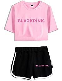 Blackpink KPOP Ropa JISOO Lisa Rose Jennie Camiseta Set Expuestos Pantalones Cortos Ombligo Traje De La