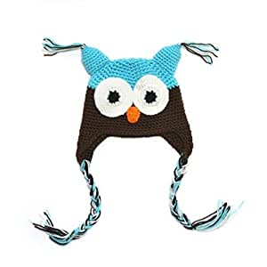 Multicolor Knitted Baby Girls Boys Hat Owl with Ear Flap (5)