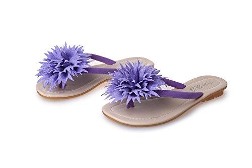 ZYUSHIZ Frau Beach Sandalen Blumen, flache Unterseite Wild Freizeitaktivitäten Schüler Hausschuhe 39EU
